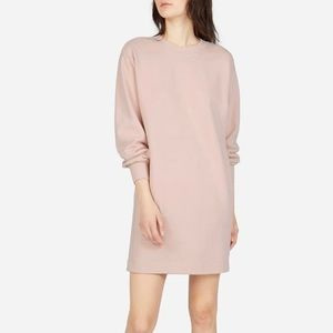 Everlane Classic French Terry Crew Neck Dress Pink